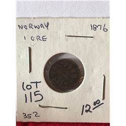 1876 Norway 1 Ore Coin