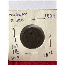 1889 Norway 2 Ore Coin