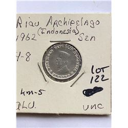1962 Riau Archipelago Indonesia Sen Coin In UNC High Grade