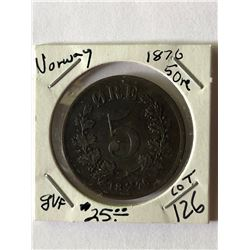 Rare Scarce 1876 Norway 5 Ore Coin