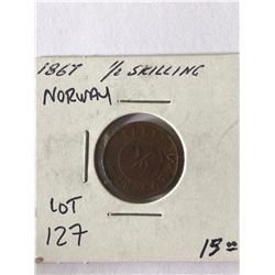 Rare Scarce 1867 Norway 1/2 Skilling Coin