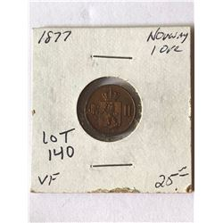 Extremely Rare 1877 Norway 1 Ore in Very Fine Grade