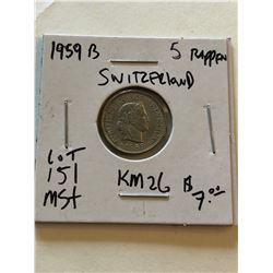 1959 Switzerland 5 Rappen in MS High Grade Nice Early Coin