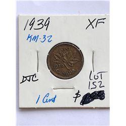 1939 Canada 1 Cent in Extra Fine Grade