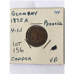 1875 A Germany Pfenning Coin Very Fine Grade