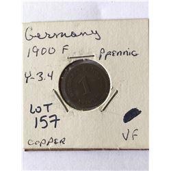 1900 F Germany Pfenning Coin Very Fine Grade