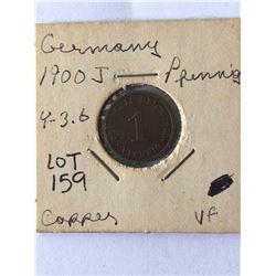 1900 J Germany Pfenning Coin Very Fine Grade