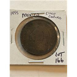 1955 Large Mexico Cinco Centavos Coin Nice Early Coin