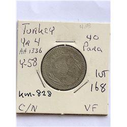 Vintage TURKEY 40 Para Coin in Very Fine Grade
