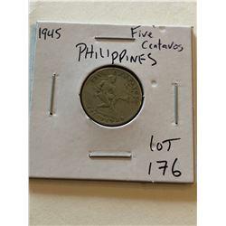 1945 Philippines 5 Centavos Coin