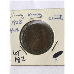 1925 Hong Kong Cent Coin in Fine Grade