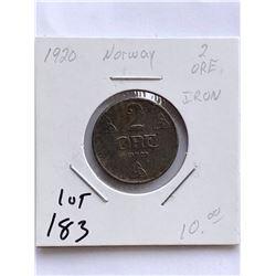 Rare 1920 NORWAY 2 Ore Coin