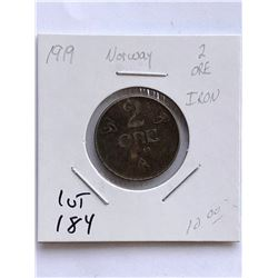 Rare 1919 NORWAY 2 Ore Coin