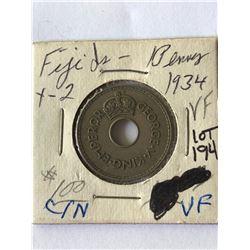 Rare 1934 Fiji Penny in Very Fine Grade