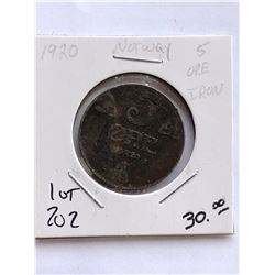 Very Rare 1920 NORWAY 5 Ore Coin