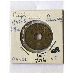 1942 S Fiji Penny in Very Fine Grade
