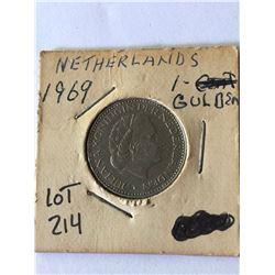 1969 Netherlands 1 Gulden in MS High Grade