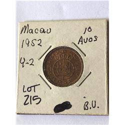 1952 Macau 10 Avos Brilliant Uncirculated High Grade