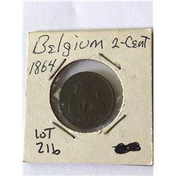 1864 Belgium 2 Cent Coin