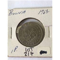 1965 Boliva 1 Peso in UNC High Grade