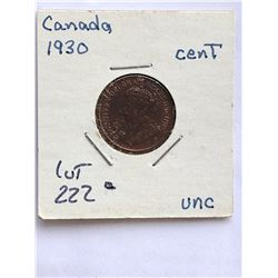 1930 Canada 1 Cent Coin in UNC High Grade
