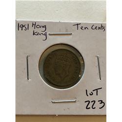 1951 HONG KONG 10 Cents Coin