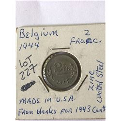 1944 WWII Belgium 2 Francs