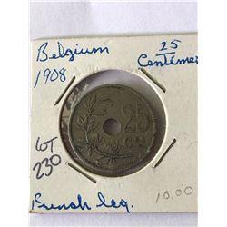 1908 Belgium 25 Centimes