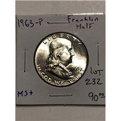 Beautiful 1963 P Silver Franklin Half Dollar Brilliant Uncirculated MS+ High Grade