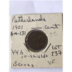 1901 Netherlands Cent 10 Shields Very Fine Grade