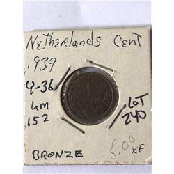 1939 Netherlands Cent Extra Fine Grade
