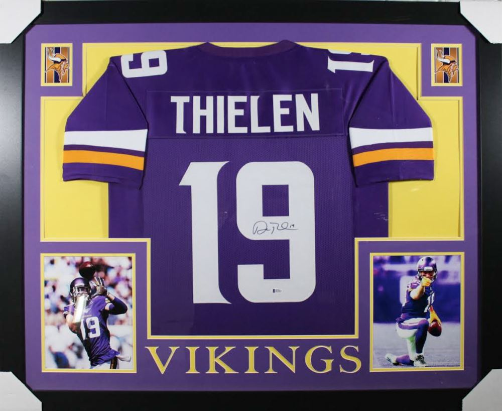 100% authentic 1bf56 56009 Adam Thielen Signed Minnesota Vikings 35x43 Custom ...