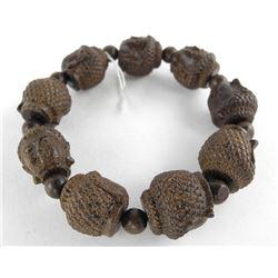 Hand Carved Wood Flex Cuff Bracelet.