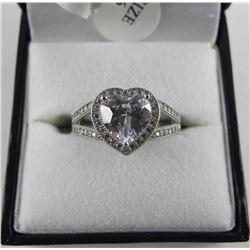 925 Silver Heart Ring Size 6. Open Band Swarovski