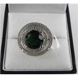925 Silver Halo Style Ring Round Emerald Green Swa