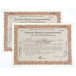 Lot (2) United Stores Corporation Stock Cents Date
