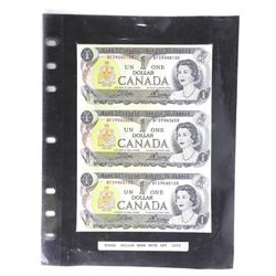 1973 UNCUT Bank of Canada One Dollar - 3 Notes