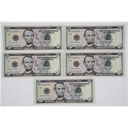 Lot (5) USA $5.00 Series 2013 UNC Crisp In Sequenc