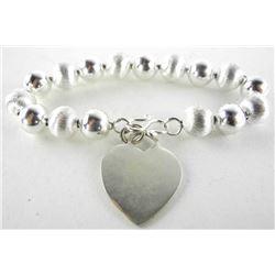 925 Silver Bead Bracelet w/Heart Tag 34gm.