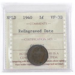 NFLD 1940 1 Cent VF-30 ICCS