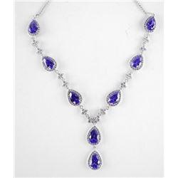 925 Silver Fancy Necklace w/Tanzanite Swarovski El
