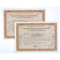 Lot (2) United Stores Corporation Share Cents. Dat