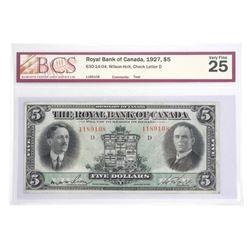 Royal Bank of Canada 1927 $5.00 BCS UF25.