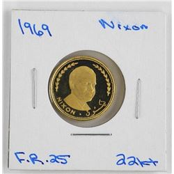 1969 22kt Gold Coin F.R.25 Nixon.
