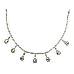925 Silver Necklace w/Drop Pear Cut Swarovski Elem