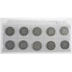 Lot (10) Early Canadian Silver 50 Cent