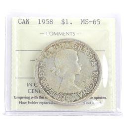 1958 Canada Silver Dollar MS65 (OXR)