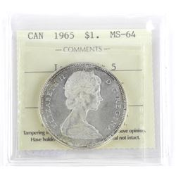 1965 Canada Silver Dollar Large Beads Blt.5 MS64 I