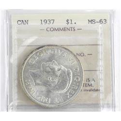 1937 Canada Silver Dollar MS63