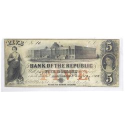 1853 Bank of Republic Five Dollars